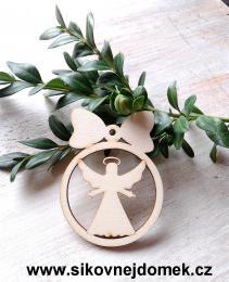 Vánoční ozdoba koule v.6,7x5cm, anděl čistý č.3 - zvětšit obrázek