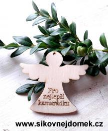 Anděl v.6x6,7cm - Pro nejlepší kamarádku - zvětšit obrázek