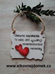 Cedulka Omluvte nepoøádek - 14x11cm - hnìdo-bílá patina-èervené srdce - zvìtšit obrázek