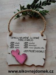 Cedulka Opakuj - 14x11cm - hnìdo-bílá patina-rùžové srdce - zvìtšit obrázek