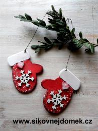 Rukavice vánoční červená vločka č.2 - zvětšit obrázek