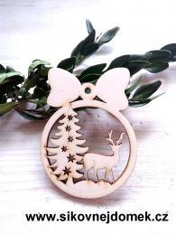 Vánoční ozdoba koule v.6,7x5cm, stromek+jelen - zvětšit obrázek
