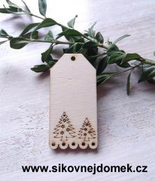 Jmenovka na dárky stromek 6,7x3,6cm - síla 3mm