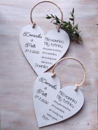 Svatební srdce dekor 18x18cm Milá maminko,Milý tatínku-CENA ZA KS - zvìtšit obrázek