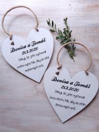 Svatební srdce dekor 20x20cm- hnìdo-bílá patina-CENA ZA KS - zvìtšit obrázek