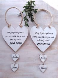 Svatební srdce dekor+srdíčka 14x14cm-cena za ks - zvětšit obrázek