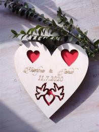 Srdce svatební podtácek holoubci barva- 17x17cm