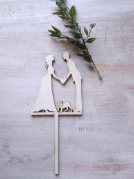 Zápich svatební nevěsta,ženich,ang.buldoček-síla mat.0,4cm - zvětšit obrázek