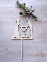 Zápich svatební nevěsta,ženich,ang+fr.buldoček-síla mat.0,4cm - zvětšit obrázek