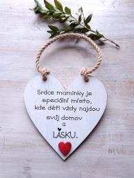 Cedulka Srdce maminky - 14x14cm, hnědo-bílá patina,červené srdce - zvětšit obrázek