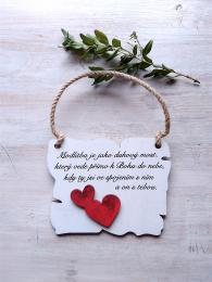 Cedulka Modlitba - 14x11cm - hnědo-bílá patina-červené srdce - zvětšit obrázek