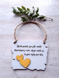 Cedulka Skvìlí pøátelé... 14x11cm-hnìdo-bílá,žluté srdce - zvìtšit obrázek