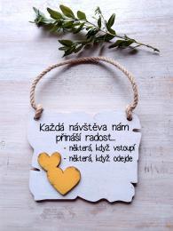Cedulka obì nemùžeme... 14x11cm-hnìdo-bílá,žluté srdce