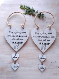 Svatební srdce dekor+srdíèka,motiv 14x14cm-cena za ks