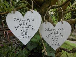 Svatební srdce dekor 18x18cm Pusu.. - hnìdo-bílá patina-CENA ZA KS. - zvìtšit obrázek