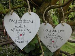 Svatební srdce dekor 18x18cm Pusu.. bar.obr.- hnìdo-bílá patina-CENA ZA KS. - zvìtšit obrázek