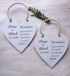 Svatební srdce dekor 20x20cm Milá maminko.. - hnìdo-bílá patina-CENA ZA KS. - zvìtšit obrázek