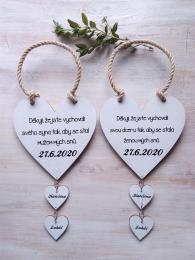 Svatební srdce dekor+srdíèka 18x18cm-cena za ks