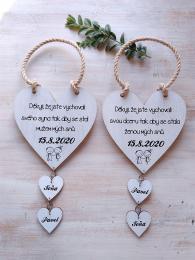 Svatební srdce dekor+srdíèka,motiv 18x18cm-cena za ks  - zvìtšit obrázek