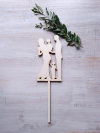 Zápich svatební nevìsta,ženich+2 kluèíci-síla mat.0,4cm