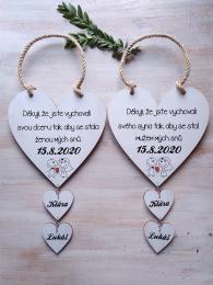 Svatební srdce dekor+srdíèka,motiv è.2,18x18cm-cena za ks - zvìtšit obrázek