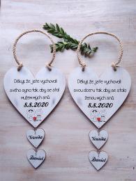 Svatební srdce dekor+srdíčka,motiv č.3,14x14cm-cena za ks - zvětšit obrázek