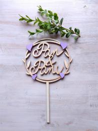 Zápich Pan a Paní,lila fialová srdíčka, síla mat.0,4cm - zvětšit obrázek
