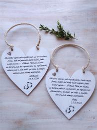 Svatební srdce dekor 20x20cm,prstýnky- hnědo-bílá    - zvětšit obrázek