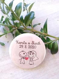 Svatební placka, button se špendlíkem pr.5cm vzor è.9339,podklad patina - zvìtšit obrázek