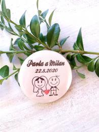 Svatební placka, button se špendlíkem, pr.5cm vzor è.9341,podklad bílá - zvìtšit obrázek