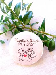 Svatební placka, button se špendlíkem pr.5cm vzor è.9339,podklad bílá - zvìtšit obrázek