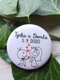 Svatební placka, button se špendlíkem pr.5cm vzor è.1,podklad bílá - zvìtšit obrázek