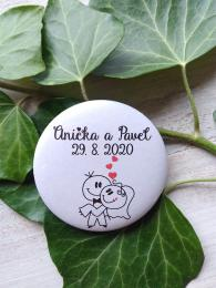 Svatební placka, button se špendlíkem pr.5cm vzor è.2,podklad bílá - zvìtšit obrázek