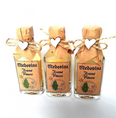 Medovina 20ml - Krásné vánoce,jelen v kruhu, tmavá pøírodní, cena za ks - zvìtšit obrázek
