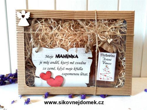 Dárková vánoèní sada: Cedulka Moje maminka je mùj andìl... + medovina 100ml
