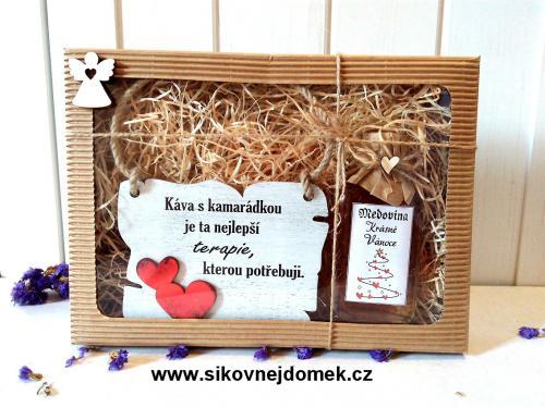 Dárková vánoèní sada: Cedulka Káva s kamarádkou... + medovina 100ml