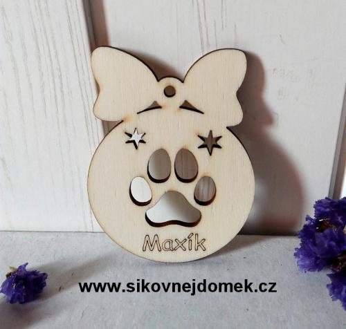 Vánoèní ozdoba koule, tlapka - pes se jménem 8x6cm, zakázková výroba