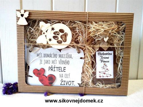 Dárková vánoèní sada: Mít domacího mazlíèka + vánoèní ozdoba tlapka pes + medovina 100ml