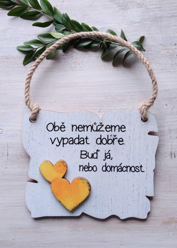 Cedulka obì nemùžeme... 14x11cm-hnìdo-bílá,žluté srdce - zvìtšit obrázek