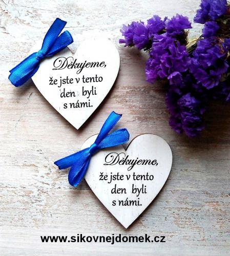 Srdíèko 5,5x5,cm- Podìkování svatebèanùm - modrá stužka, cena za ks